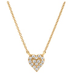Diamond Heart Pendant Necklace in 18k Yellow Gold