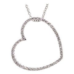 Diamond Heart Pendant Necklace in White Gold