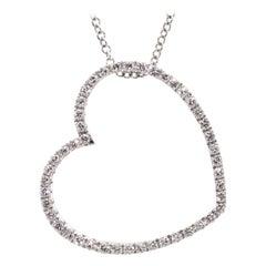 Diamond Heart Pendant Necklace in White Gold