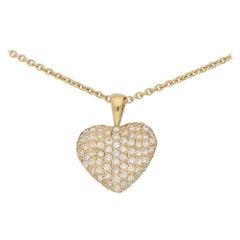 Diamond Heart Pendant with Chain Set in 18 Karat Yellow Gold