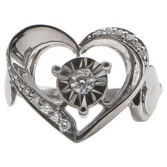 Diamond Heart Ring 0.35 Carat Sterling Silver