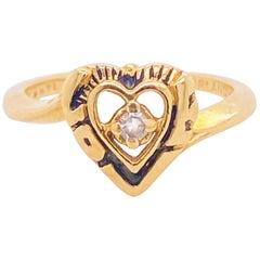 Diamond Heart Ring 14 Karat Yellow Gold Open Heart Ring, Promise Ring, Love Ring