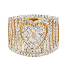 Diamond Heart Ring in 18K White and Yellow Gold
