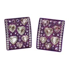 Diamond Heart Sapphires Amethyst Pink Gold Titanium Made in Italy Earrings
