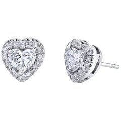 Diamond Heart Shape 1.04 Carat Stud Earrings GIA Certified Platinum