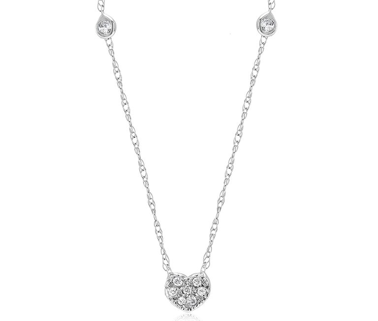 Modernist Diamond Heart Shape Charm Bezel-Set Necklace Pendant For Sale