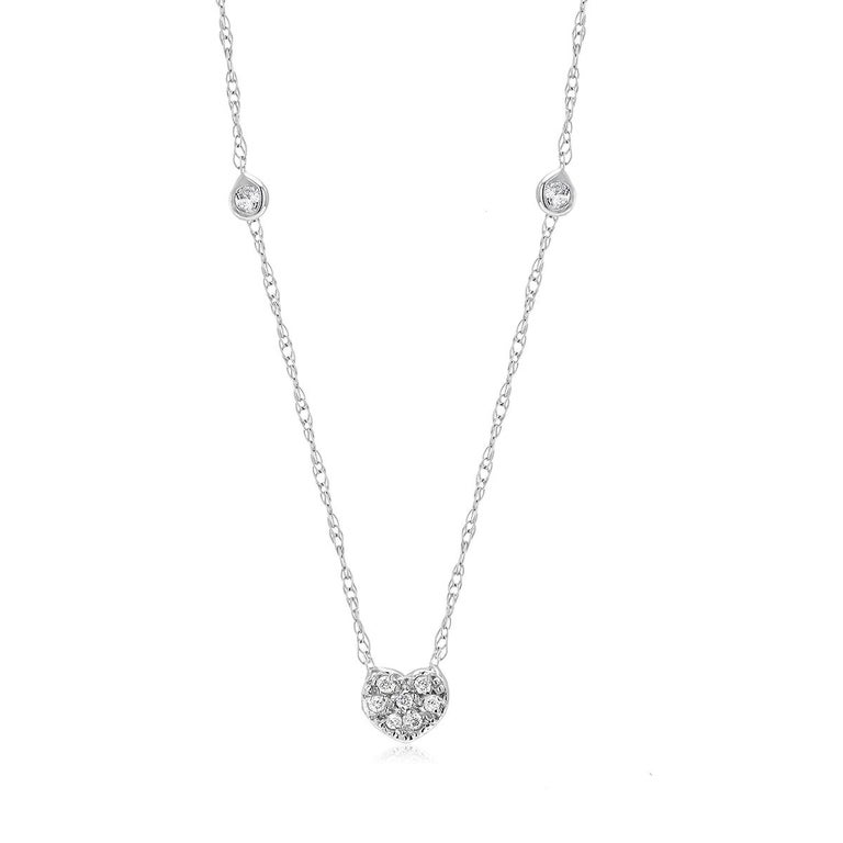 Diamond Heart Shape Charm Bezel-Set Necklace Pendant In New Condition For Sale In New York, NY