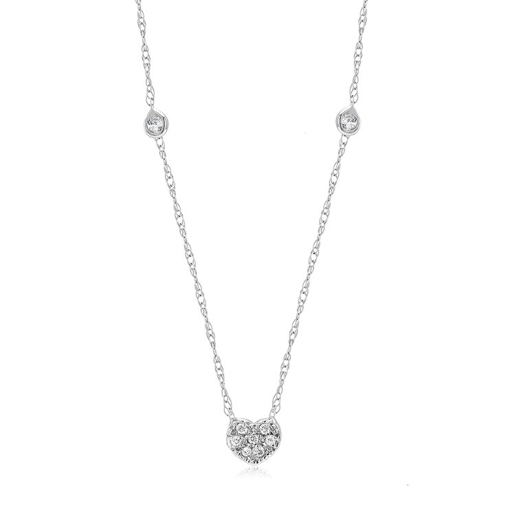 Diamond Heart Shape Charm Bezel-Set Necklace Pendant For Sale 1