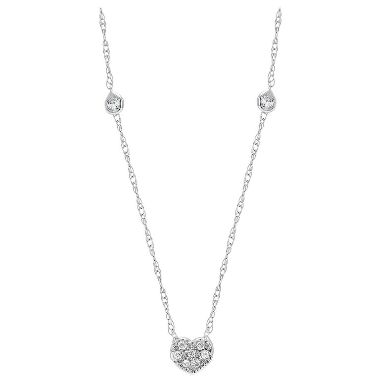Diamond Heart Shape Charm Bezel-Set Necklace Pendant For Sale