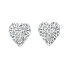 Diamond Heart Stud Earrings in 18k White Gold