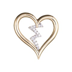 Diamond Heartbeat Pendant Estate 14 Karat Yellow Gold Heart Jewelry Vintage