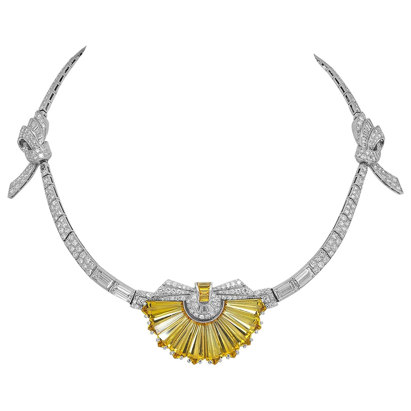 Diamond Heliodor Platinum Necklace