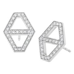 Diamond Hexagon Stud Earrings , Gold, Ben Dannie