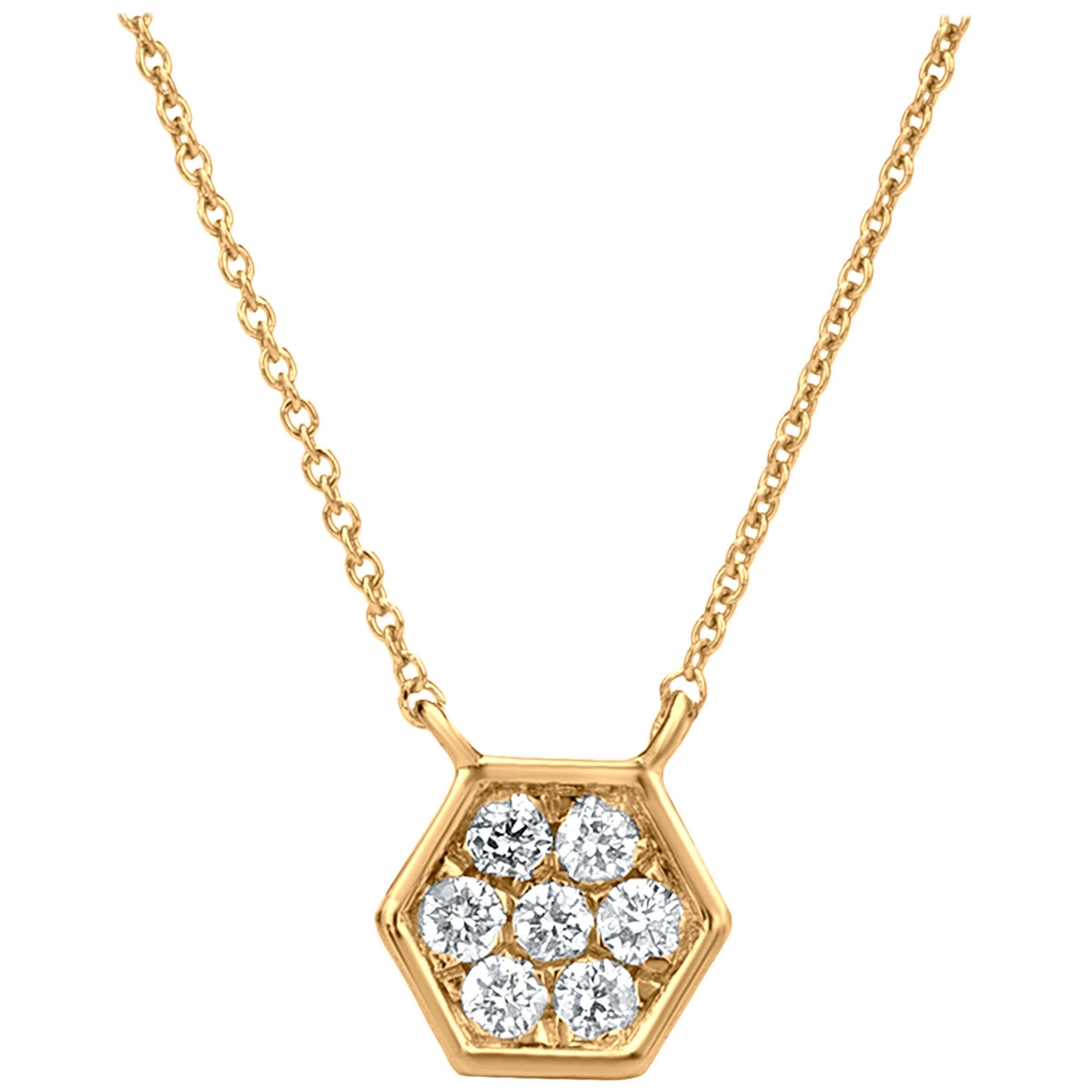 Hexagonal Diamond Pendant Necklace in 18k Yellow Gold