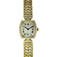 Cartier Yellow Gold Diamond High Jewelry Tonneau manual Bracelet Wristwatch