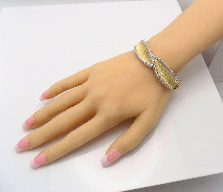 Women's Diamond Hinged Bracelet For Sale