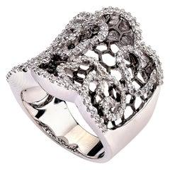Diamond Honeycomb Ring with Black Rhodium 0.80 Carat