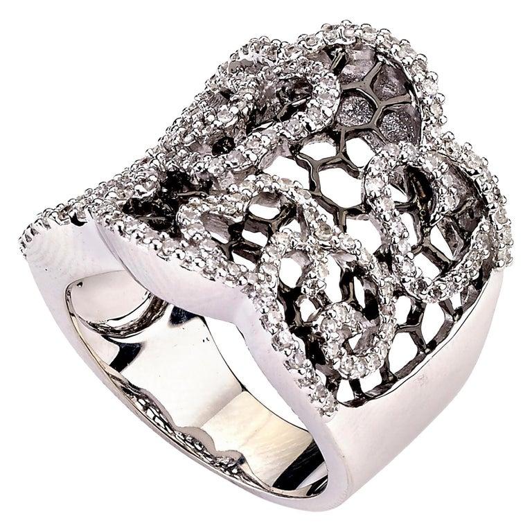 Diamond Honeycomb Ring with Black Rhodium 0.80 Carat For Sale