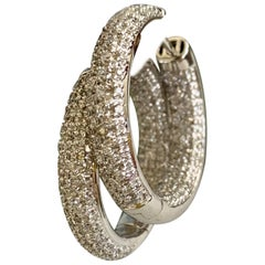 Modern Inside / Outside 14 Karat White Gold Diamond Hussy Earrings
