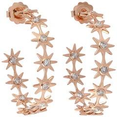 Diamond Hoop 18 Karat Gold Star Earrings