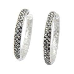 Diamond Hoop Diamond Earrings Totalling 2.20 Carat in 18 Karat White Gold