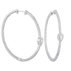 Diamond Hoop Earring Studded in 18 Karat White Gold