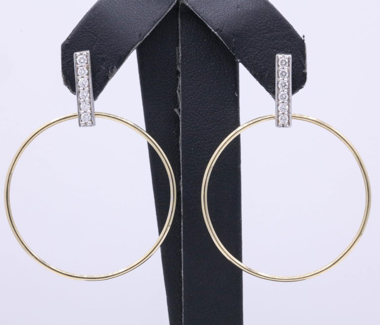Diamond Hoop Earrings 0.33 Carat 14K White & Yellow Gold In New Condition For Sale In New York, NY