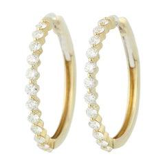 Diamond Hoop Earrings, 14 Karat Yellow Gold Pierced 1.47 Carat