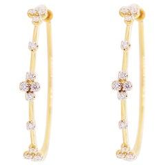 Diamond Hoop Earrings, 14 Karat Yellow Gold Prong Set Round Classic Screw Back
