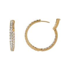 Diamond Hoop Earrings 18 Karat Gold Round Inside Outside Prong-Set 4.85 Carat