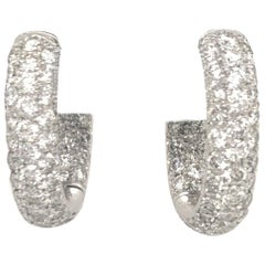 Diamond Hoop Earrings 2.95 Carat 18 Karat White Gold