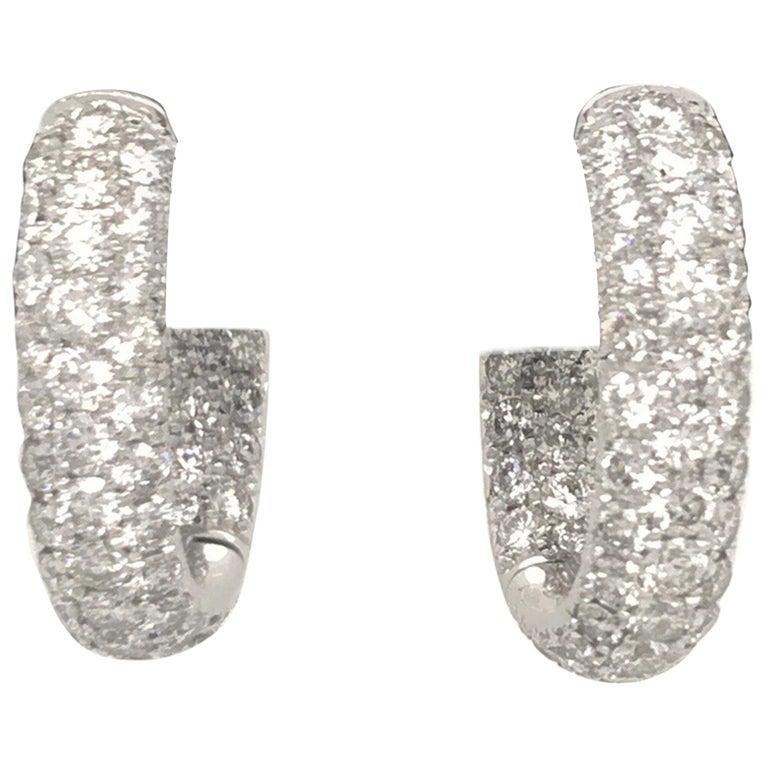 Diamond Hoop Earrings 2.95 Carat 18 Karat White Gold For Sale