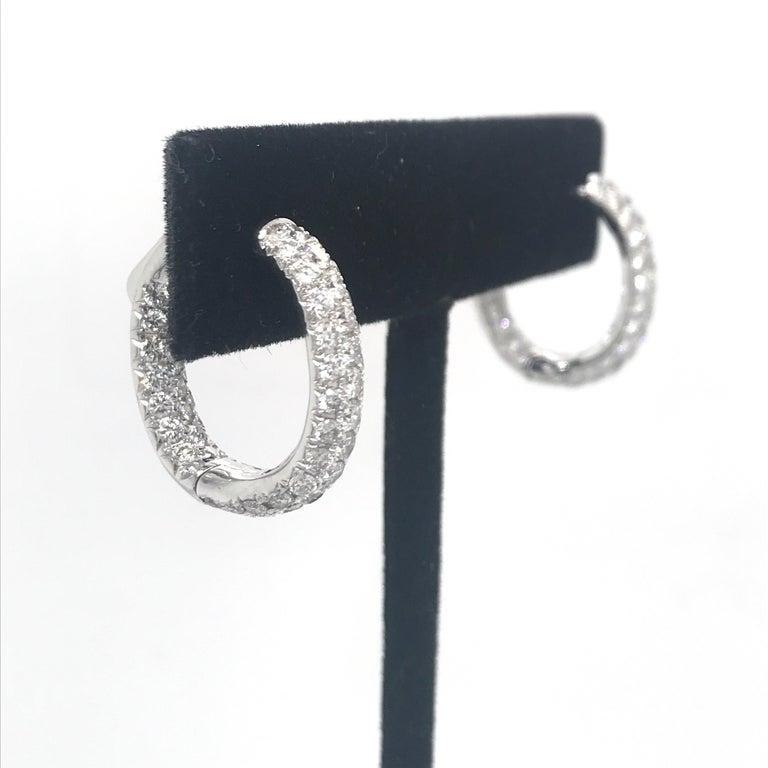 Round Cut Diamond Hoop Earrings 2.95 Carat 18 Karat White Gold For Sale