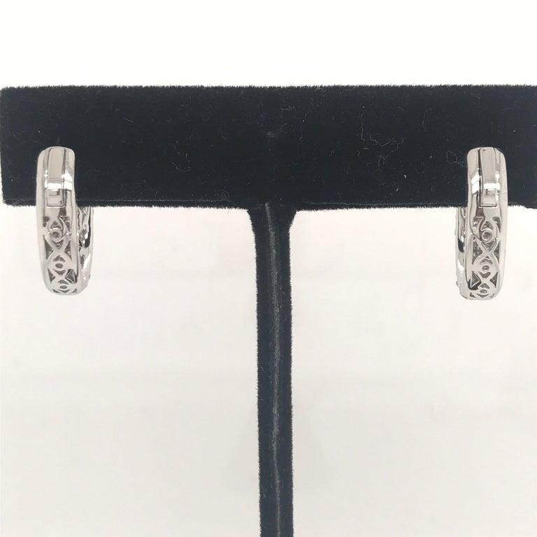 Women's Diamond Hoop Earrings 2.95 Carat 18 Karat White Gold For Sale