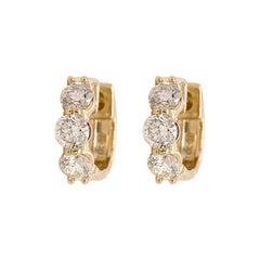 Diamond Hoop Earrings, Huggies, Six Diamond Earrings, Yellow Gold