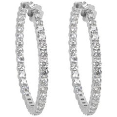 Diamond Hoop Earrings in 14 Karat White Gold 5.44 Carat