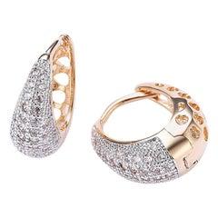 Diamond Hoop Earrings in 18 Karat Solid Gold