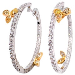 Diamond Hoop Earrings in 18 Karat Yellow and White Gold