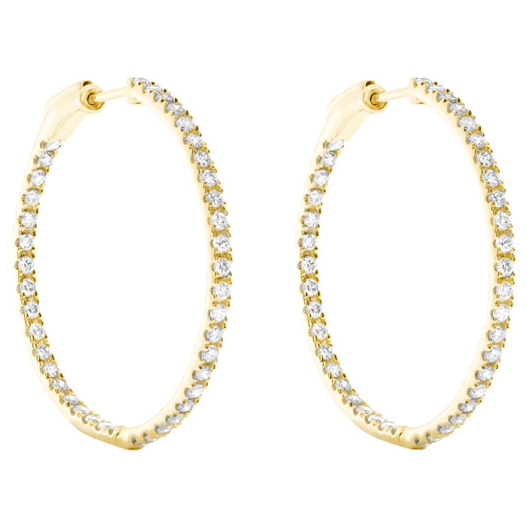 Diamond Hoop Earrings in 18 Karat Yellow Gold by Allison Bryan