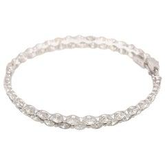 Diamond Hoop Earrings Marquise Cuts Wide 18 Karat White Gold