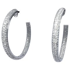 Diamond Hoop Earrings Set in 18 Karat White Gold