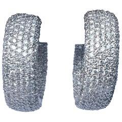 Diamond Hoop Earrings Set in 18 Karat White Gold