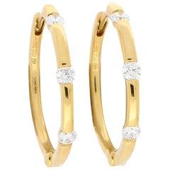Diamond Hoop Earrings Set in 18 Karat Yellow Gold