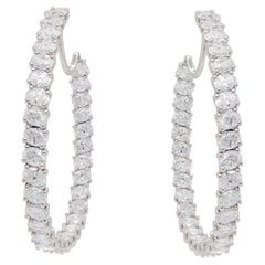 Diamond Hoop Earrings Set with 64 Oval Cut Diamonds 9.33 Carats Total