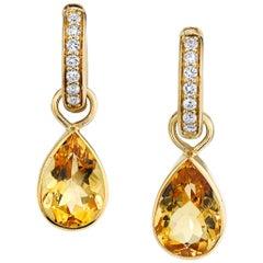 Diamond Hoop Earrings with Bezel Set Citrine Dangles 18 Karat Yellow Gold