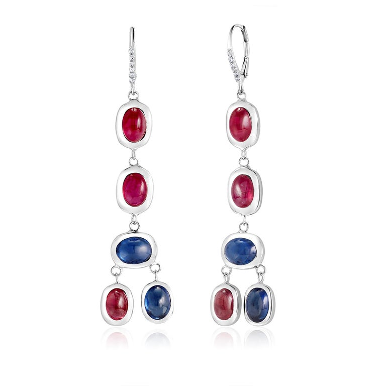 Diamond Hoop Earrings with Cabochon Ruby and Sapphire Drops Weighing 17.06 Carat For Sale 3