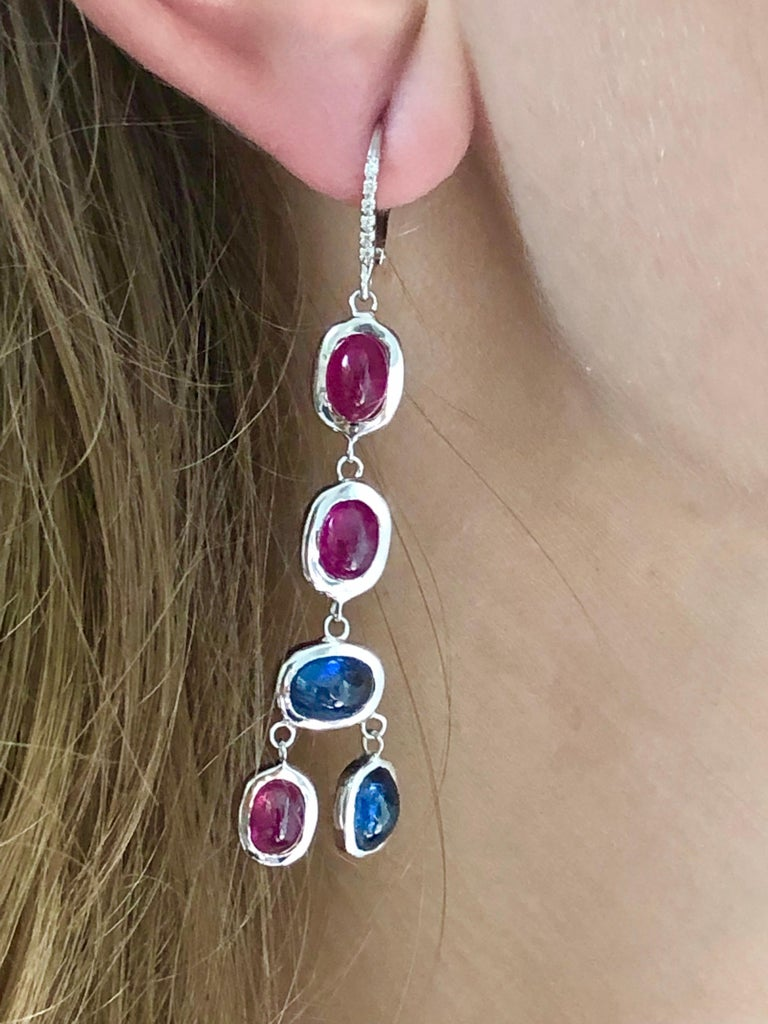 Women's Diamond Hoop Earrings with Cabochon Ruby and Sapphire Drops Weighing 17.06 Carat For Sale
