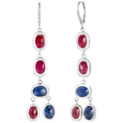 Diamond Hoop 2 Inch Earrings Cabochon Ruby and Sapphire Weighing 17.06 Carat