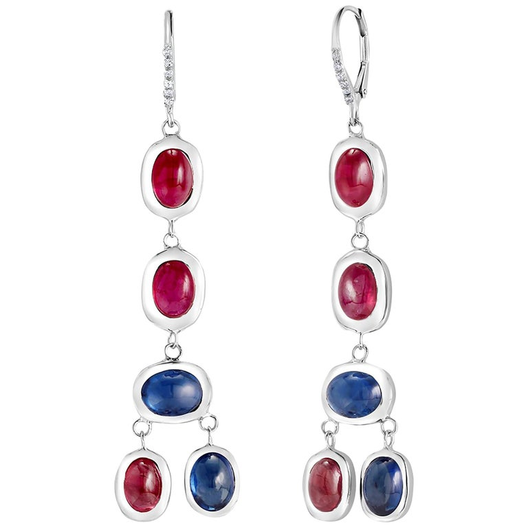 Diamond Hoop Earrings with Cabochon Ruby and Sapphire Drops Weighing 17.06 Carat For Sale