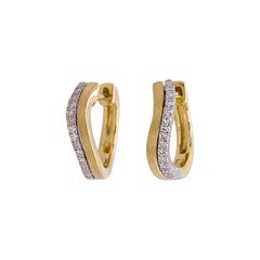 Diamond Hoop Earrings, Yellow Gold Wave Shape Huggies, Diamond Wavy Huggie Ear
